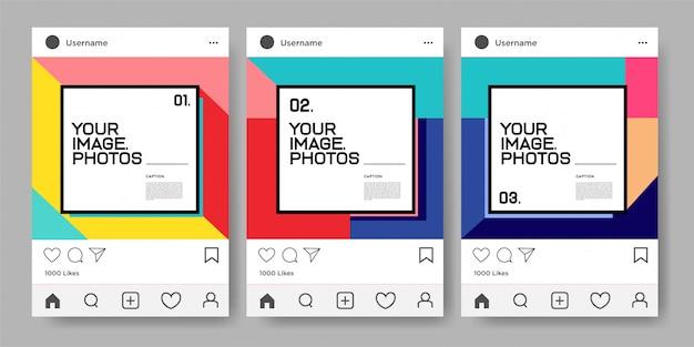 Vektor bunte geometrische entwurfsschablone für instagram feed