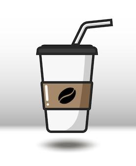 Vektor bunte ikone des kaffees lokalisiert auf weißem hintergrund