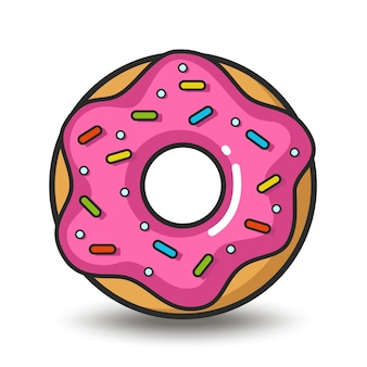 Vektor bunte ikone des rosa donuts isoliert auf weißem hintergrund