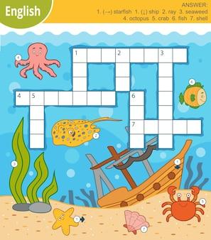 Vektor buntes kreuzworträtsel auf englisch, bildungsspiel für kinder über die unterwasserwelt und meerestiere