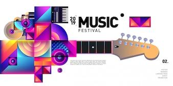 Vektor-buntes Musikfestival für Ereignis-Fahne und Plakat
