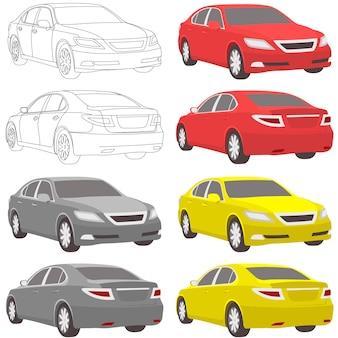 Vektor-business-auto-abbildung zwei ansicht
