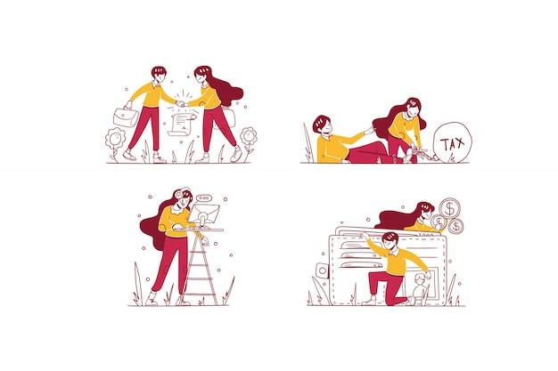Vektor business & finance illustration hand gezeichneten design-stil, mann und frau tun deal vereinbarung, senken die steuer, kundenservice-support, geld sparen in brieftasche