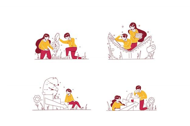 Vektor business & finance illustration hand gezeichneten design-stil, mann und frau tun geld wachsen, sparen in brieftasche, siehe bärenmarkt abnahme, spielen bull trend zunahme