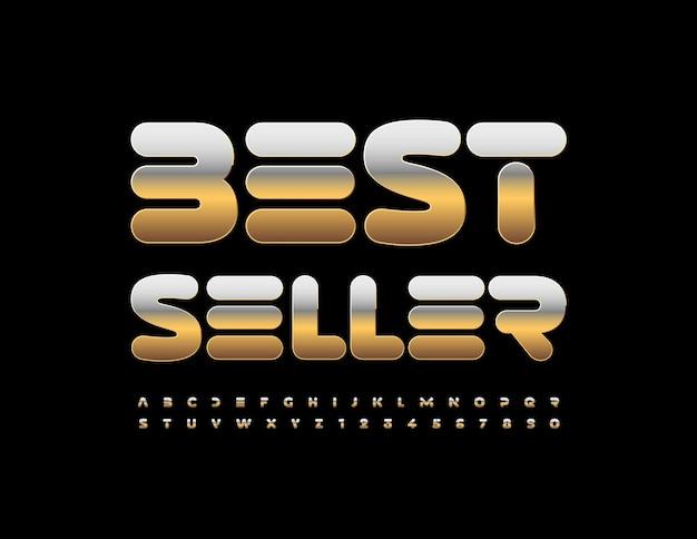 Vektor-business-logo bestseller moderne gold alphabet buchstaben und zahlen metallic futuristische schriftart