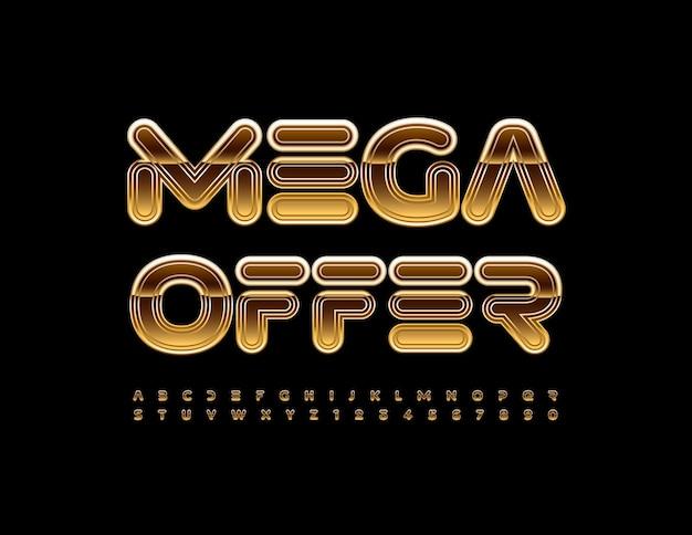 Vektor-business-promo mega-angebot creative gold font dekorative alphabet buchstaben und zahlen set
