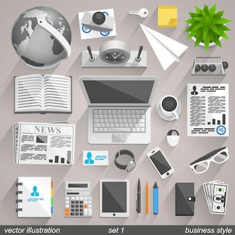 Vektor-business-stil-ikonen. set 1 illustration art