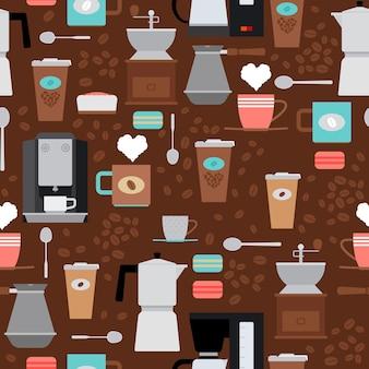 Vektor-café nahtlose muster. hintergrund mit kaffeemaschine und kaffeebohnen