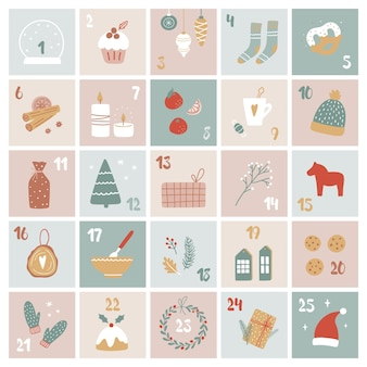 Vektor-cartoon-adventskalender. weihnachtsgeschenke und dekorationen mit zahlen von 1 bis 25. geschenkbox-vorlage.
