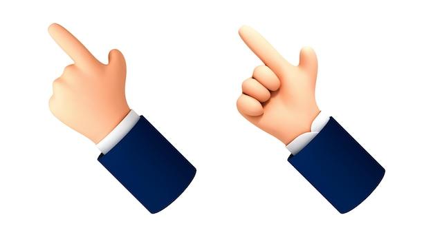 Vektor-cartoon-charakter hand zeigt geste. zeigen sie einen finger, zeigefinger. zeigen, zeigen etwas oben. cliparts isoliert auf weißem hintergrund