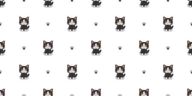 Vektor-cartoon-charakter schwarze katze nahtlose muster hintergrund für design.
