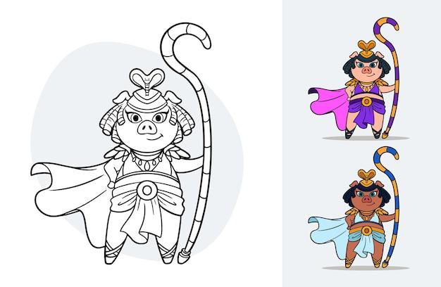 Vektor-cartoon-farbbuch für kinder mit einem alten ägyptischen königinschwein mit beispielen für farbvariationen