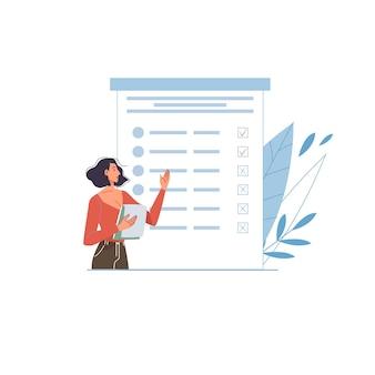Vektor-cartoon-flachfigur, die online-umfrage, test, prüfung und überprüfungsergebnisse auf bildschirm-mobiltelefongeräten, monitoren besteht - online-fernausbildungs- und prüfungskonzept