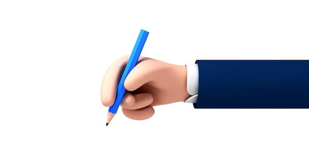 Vektor-cartoon-geschäftsmann-charakter-hand mit bleistift. business-clipart-grafiken isoliert auf weißem hintergrund.