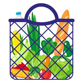 Vektor-cartoon-illustration der blauen einkaufstüte oder der schildkrötennetztasche mit bio-lebensmitteln isoliert auf weißem hintergrund