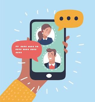 Vektor-cartoon-illustration des mobile-messenger-konzepts. leute, die auf dem bildschirm des smartphones chatten. menschliche hände halten smartphone.