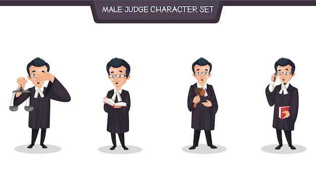 Vektor-cartoon-illustration des zeichensatzes des männlichen richters