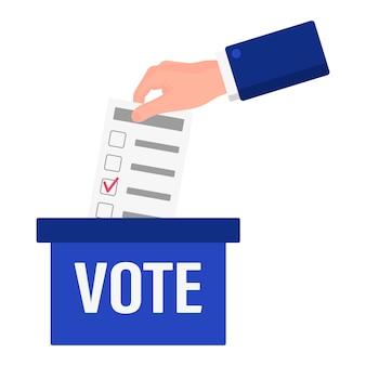 Vektor-cartoon-illustration einer hand, die einen stimmzettel in eine auf weißem hintergrund isolierte wahlbox legt. us-präsidentschaftswahl 2020. abstimmung, patriotismus und unabhängigkeitskonzept.