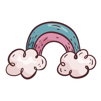 Vektor-cartoon-illustration. kinderregenbogen mit wolken im doodle-stil isoliert auf weißem hintergrund. gestaltungselement.
