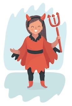Vektor-cartoon-illustration von halloween-illustration. nettes kleines teufelsmädchen im roten kostüm mit horn.