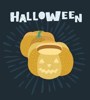 Vektor-cartoon-illustration von happy halloween. vektorillustration des paares ein kürbis. dunkler hintergrund und handgezeichneter schriftzug+