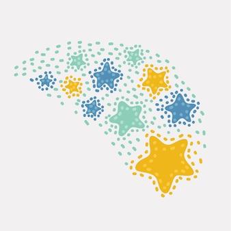 Vektor-cartoon-illustration von sternschnuppen. sternschnuppen isoliert auf weißem hintergrund. symbole von meteoriten und kometen oder gruß, feuerwerkskörper, feuerwerkskörperelement.+