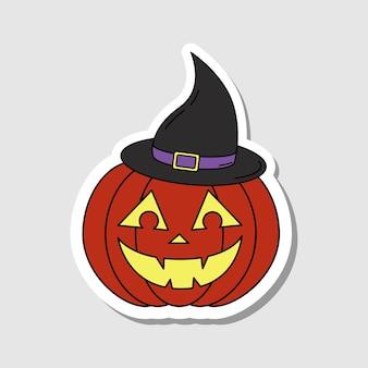 Vektor-cartoon-kürbis mit lächelndem gesicht und hexenhut-aufkleber jackolantern-aufkleber
