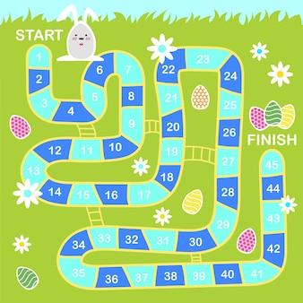 Vektor-cartoon-stil illustration von kindern ostern brettspiel mit feiertagssymbolen. vorlage zum drucken.