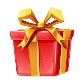 Vektor-cartoon-stil rote geschenkbox isoliert auf weißem hintergrund