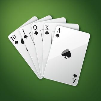 Vektor casino spielkarten oder royal straight flush draufsicht isoliert auf grünem pokertisch