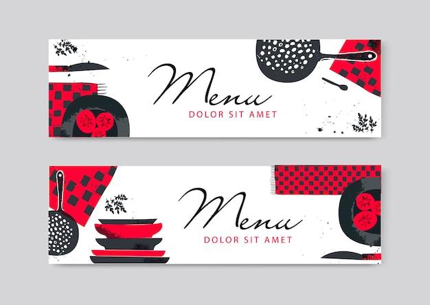Vektor-catering-broschüre-flyer-design. künstlerische handgezeichnete küche, horizontale banner für lebensmittel, überschriften. restaurant, festival, menü, café, aufkleberillustration mit texturen.