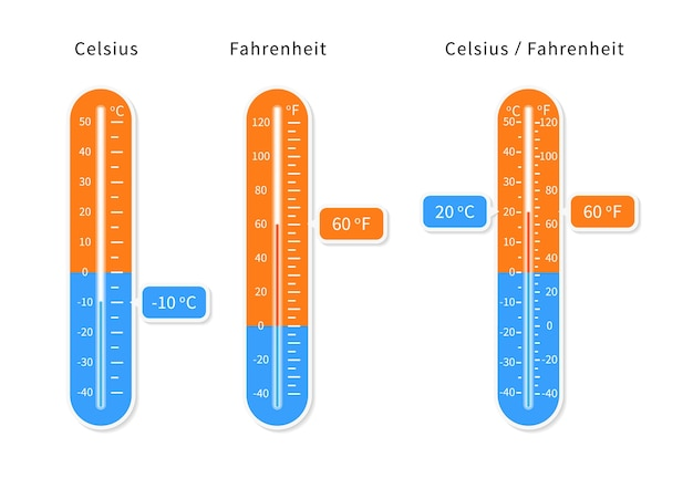 Vektor celsius und fahrenheit meteorologie thermometer eingestellt.