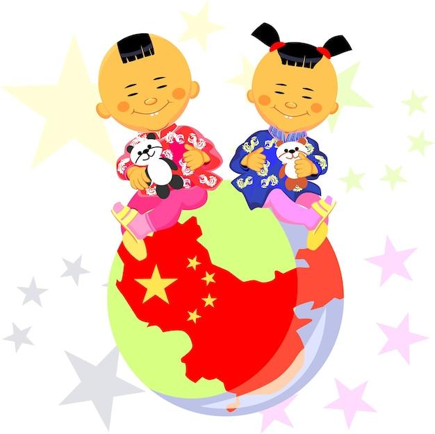 Vektor-chinesischer junge und mädchen in tracht sitzen vor dem hintergrund der welt der stilisierte...