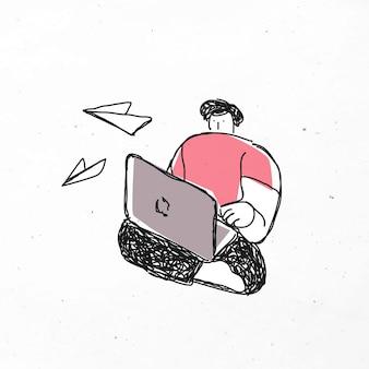 Vektor-clipart: mann, der laptop spielt