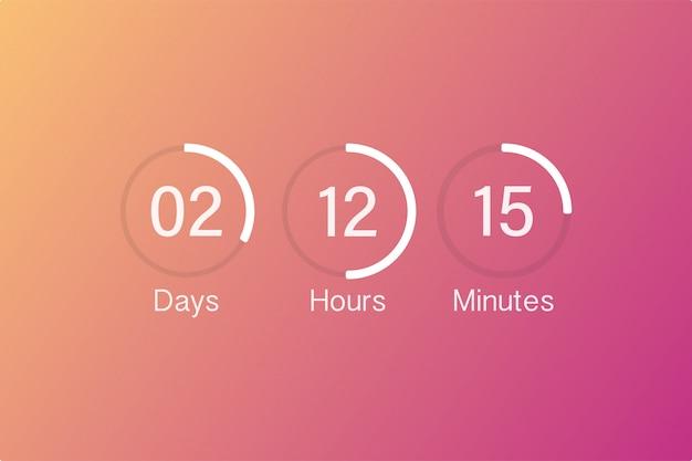 Vektor countdown uhr zähler timer. digitaler countdown-kreisanzeiger der ui-app mit kreiszeit-kreisdiagramm.