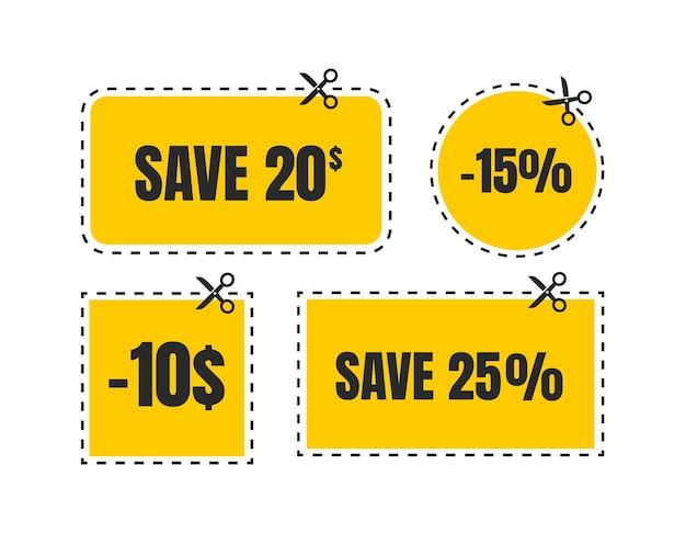 Vektor-coupon-rabatt isolierter geschenkgutschein für business-set von promo-coupons