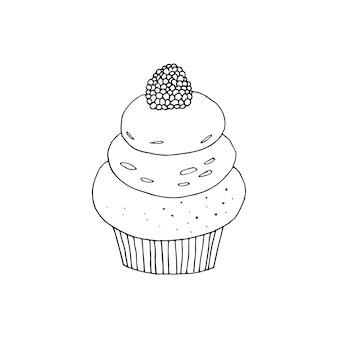 Vektor-cupcake-illustration. doodle kuchen mit sahne und beeren.