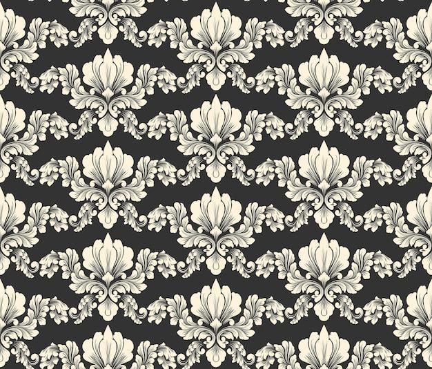 Vektor damast nahtlose muster hintergrundklassische luxus altmodische damast ornament