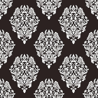 Vektor damast nahtlosen muster hintergrund. klassische luxus altmodische damastverzierung, königliche viktorianische nahtlose beschaffenheit für tapeten, textil, verpackung. exquisite blumenbarockschablone.