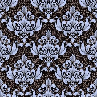 Vektor damast nahtlosen muster hintergrund. klassische luxus altmodische damastverzierung, königliche viktorianische nahtlose beschaffenheit für tapeten, textil, verpackung.