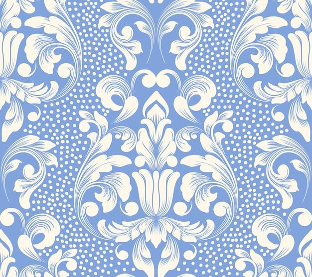 Vektor damast nahtloses musterelement. klassische luxus altmodische damastverzierung, königliche viktorianische nahtlose beschaffenheit für tapeten, textil, verpackung. exquisite blumenbarockschablone.