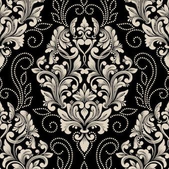 Vektor damast nahtloses musterelement. klassische luxus altmodische damastverzierung, königlicher viktorianischer stil