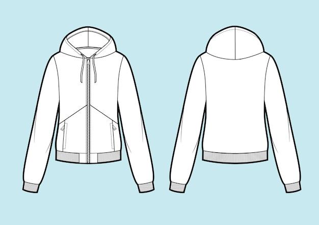 Vektor. damen kapuzensweatshirt mit reißverschluss (rücken-, vorder- und seitenansicht). schablone