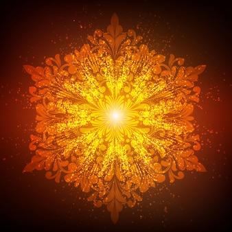 Vektor dekorative runde spitze mit damast- und arabeskenelementen. mehndi-stil. orientieren sie traditionelle verzierung. glühende schneeflocke.