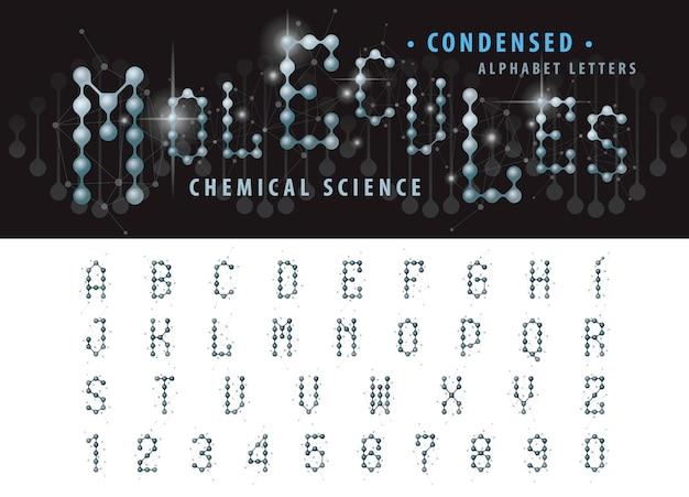 Vektor der abstrakten molekülzelle alphabet buchstaben und zahlen, verkürzte güsse
