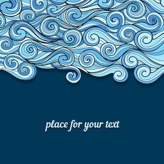 Vektor, der blaue wellen mit platz für ihren text zeichnet