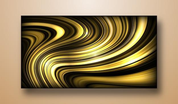 Vektor der flüssigkeit formt hintergrund auf flüssigem goldgradienten mit schatten- und lichteffekt