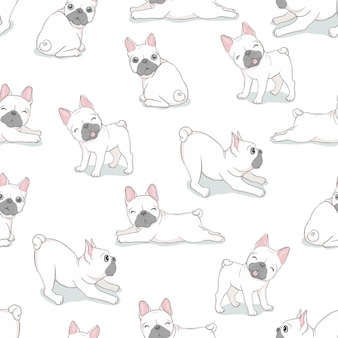 Vektor der französischen bulldogge des hundenahtlosen musters
