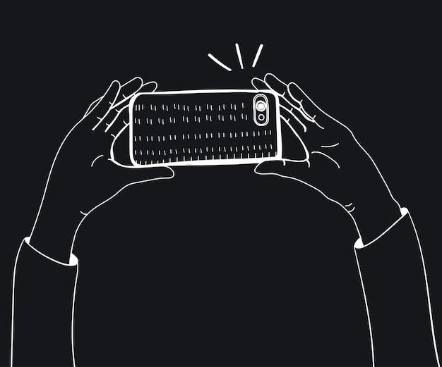 Vektor der hände, die foto mit smartphone machen