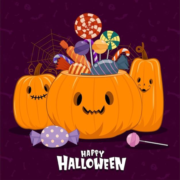 Vektor der halloween-ikonen mit kürbissen und mehrfarbigen bonbons
